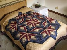 Navy and Burgundy Diamond Star Log Cabin Quilt Photo 1