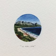 Day 102: Kogel Bay is located between Gordon's Bay and Rooi Els and borders Clarens Drive, a 20km scenic route that boasts whale watching opportunities along largely undeveloped parts of the coastline. 27 x 27mm. #365postcardsforants #miniature #watercolour #wdc624 #kogelbay #capetown #surf  (at Kogel Bay)