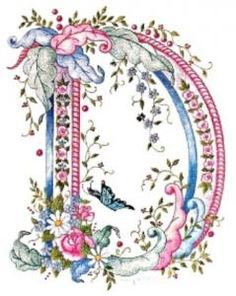 pink blue flower letter D Embroidery Letters, Ribbon Embroidery, Embroidery Stitches, Machine Embroidery, Embroidery Designs, Graphic 45, Decoupage, Alphabet And Numbers, Alphabet Letters