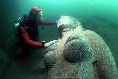 This statue represents a Ptolemaic queen from the third or fourth century B.C.  The Sunken City of Alexandria