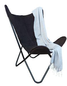 Nieuw in de collectie. Butterfly chair / Vlinderstoel Sweet leather black. Nu op voorraad, Te bestellen bij www.s-styling.nl