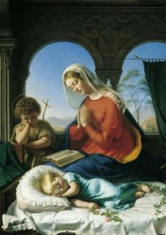➕LA TRÈS SAINTE VIERGE MARIE ET SAINT JEAN-BAPTISTE ENFANT VEILLENT SUR LE SAINT ENFANT JÉSUS➕