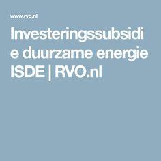 Investeringssubsidie duurzame energie ISDE | RVO.nl