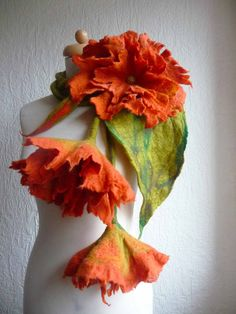 felted wool scarf necklace flower, felt, jewellery, jewelry, art to wear, lariat, bespoke,  MADE TO ORDER lagenlook, orange, yellow, pink