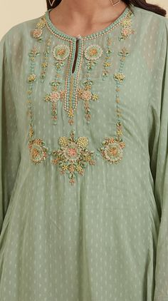 Buy Indian Designer Mint Embroidered Kurti With Palazzo by Ritu Kumar Online Embroidery On Kurtis, Kurti Embroidery Design, Hand Embroidery Dress, Embroidery Neck Designs, Embroidery Online, Embroidered Kurti, Kurta Neck Design, Kurta Designs Women, Kurti Designs Party Wear