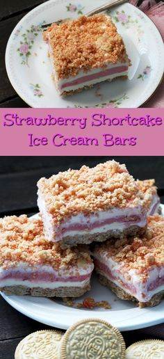 What could be better than Strawberry Shortcake Ice Cream Bars on a hot Summer Day? These ice cream bars bring back such good memories of happy times. Strawberry Ice Cream Bar, Strawberry Crunch Cake, Strawberry Shortcake Dessert, Oreo Ice Cream, Shortcake Recipe, Ice Cream Desserts, Strawberry Sorbet, Just Desserts, Delicious Desserts