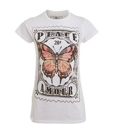 White (White) White Butterfly Stamp T-Shirt