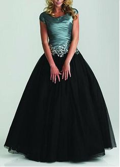 Modest Taffeta & Tulle& Satin Ball Gown Scoop Neckline Drop Waist Color Block Full Length Prom Dress #Dressilyme