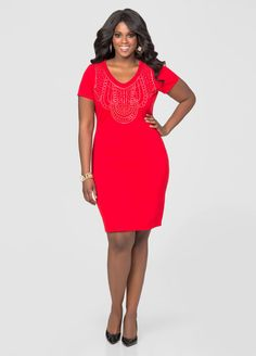 b3ce2c39ed7 Stud Front Sheath Dress Stud Front Sheath Dress Curvy Plus Size
