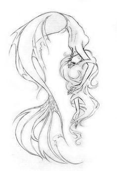 Fantastic Photo pencil drawing mermaid Strategies Pen painting can be single a Tatto Drawings Mermaid Artwork, Mermaid Drawings, Mermaid Tattoos, Mermaid Drawing Tutorial, Mermaid Tail Drawing, Octopus Tattoos, Mermaid Paintings, Mermaid Tails, Art Poses