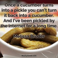 Once a cucumber turns into a #pickle you can't turn it back into a #cucumber. And I've been pickled by the internet for a long time. Melissa Broder #quote