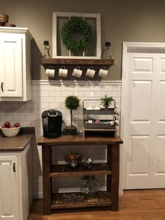 35 DIY Coffee Station Ideas – Home Coffee Bars Ideas & PicturesYou may never fail with antique coffee station. It doesn't have to be an elaborate set-up, as you can see here. In comparison to conventional farmhous. Coffee Nook, Coffee Bar Home, Home Coffee Stations, Coffee Bars, Coffee Coffee, Coffee Maker, Diy Kitchen, Kitchen Design, Kitchen Ideas