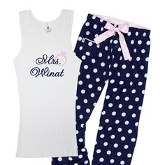 Mrs. Stuckless PJ Set, $48 from Classy Bride