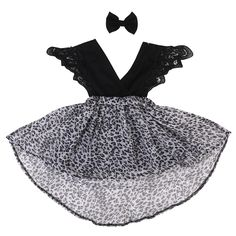 >> Click to Buy << Family Clothing Baby Girls Kids V neck Romper Leopard Dress 2017 New Summer Party Pageant Tutu Dresses Headband #Affiliate