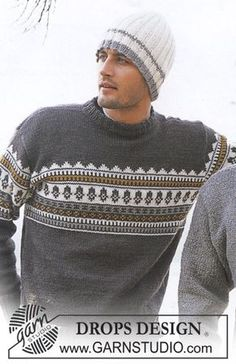 Outdoors - Men's knitted pullover with Nordic pattern in DROPS Karisma, plus hat in rib, in DROPS Alaska - Free pattern by DROPS Design Fair Isle Knitting Patterns, Knit Patterns, Drops Design, Knit Crochet, Crochet Hats, Crochet Beanie, Knit Hat For Men, How To Purl Knit, Free Knitting