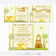 Baby Lion King Baby Shower Invitation Thank by SealsItWithAKiss