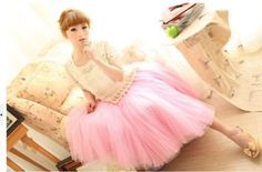Princess Fairy Style, 5 layers Voile Tulle Skirt, Bouffant Puffy Long Skirt