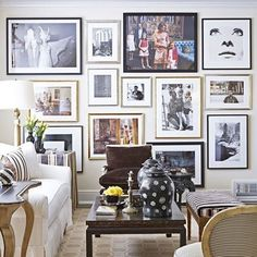 A gallery wall in the living room of a California home showcases some of Alessandro Uzielli's photography collection. The striped chair is a Paris flea market find. Deco Miami, Inspiration Wand, Style Inspiration, Wall Design, House Design, Design Art, Decoration Photo, Striped Chair, Living Room Trends