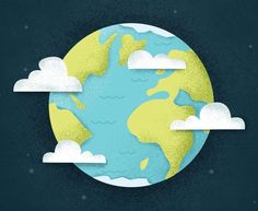 Planeta tierra entre nubes