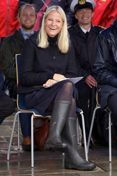 Crown Princess Mette-Marit and Crown Prince Haakon visited Drobak town on September 15, 2015 in Frogn, Norway.