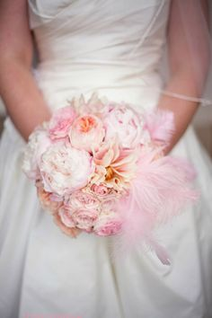 Shades of Pink Bouquet with Ostrich Feathers