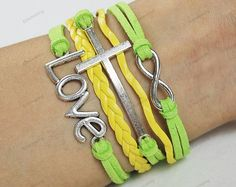 Multi-color love and cress handmade leather bracelet, shop at Costwe.com