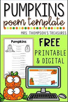 Free Pumpkin Poem Template - Classroom Freebies