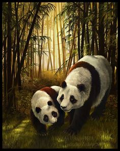 Endangered Panda and Cub in Bamboo Forest Fine by EtherealStudios, $15.00