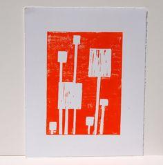 Bright Orange and White Squares Linoprint 8x10 by srajab1 on etsy. $23.00 #etsyfollow