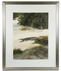 GWENDOLYN JAMES COOK (CONTEMPORARY MAINE) - Snow and Granite, watercolor on paper. #auction #onlineauction #antique #antiques #antiquefinds #antiquesforsale #antiquedecor #auctionfinds #thomastonplace #auctionhouse #maineantiques #maineauction #artauction #watercolor #contemporaryart #maine #landscape #GWENDOLYNJAMESCOOK #snow #newenglandart