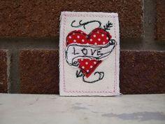 Brooch : tattoo heart textile,retro,rockerbilly £10.00