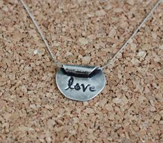 Pure Silver, Precious Metal Clay Love Pendant Necklace, Handmade by Coral Joy Jewelry