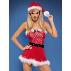 Pomysł na prezent erotyczny - 4-częściowy kostium pani mikołajowej Mrs Claus OBSESSIVE http://sexshop112.pl/30-pomysl-na-prezent