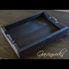 Solid rough sawn pine, aged & distressed, then stained & linseed oil applied for a dark, rich finish. Cast iron handles. Perfect for a centerpiece on your Garvinworks coffee or dining table, or a place to hold your liquor bottles on your bar.