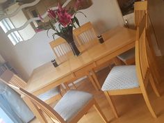 For Sale In Dublin Dining Room Table And 6 Matching Chairs Is Extended The Photos Duck Egg Blue Material On Each Of Seats