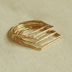 Thin, square, stackable rings