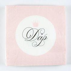 Kort og godt - serviett - Dåp krone (rosa)