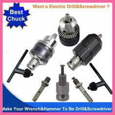 Electric Wrench Chuch 2 Pit 2 Slot Electric Hammer Drill Chuck Head To Be Drill And Screwdriver Electric Hammer, Hammer Drill, Slot, Tools, Instruments