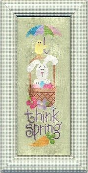 Lizzie Kate THINK SPRING Basket w Bunny Rabbit Umbrella Chick Cross Stitch Patt #LizizieKate
