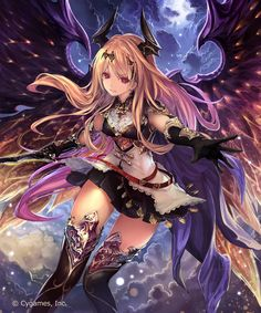 Anime picture 2500x3000 with shingeki no bahamut dark angel olivia tachikawa mushimaro (bimo) long hair single tall image highres looking at viewer red eyes cloud (clouds) orange hair horn (horns) outstretched arm demongirl jpeg artifacts watermark payot girl skirt gloves