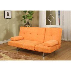 Orange Microfiber Contemporary Klik-Klak Sofa Bed