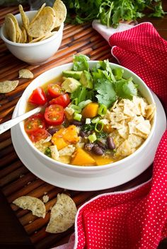 Tex-Mex Inspired Black Bean, Sweet Potato, and Red Quinoa Soup! Enjoy a hot bowl of vibrant comfort food this season. #recipes #vegan - Click image to find more Food & Drink Pinterest pins