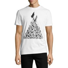 Mcq Alexander Mcqueen Rabbit Skull Crewneck T-Shirt ($165) ❤ liked on Polyvore featuring men's fashion, men's clothing, men's shirts, men's t-shirts, white, mens skull shirts, mens white shirts, mens short sleeve shirts, mens white t shirts and j crew mens shirts