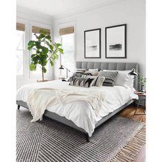 Room Ideas Bedroom, Home Decor Bedroom, Bedroom Rugs, Ivory Bedroom, Small Room Bedroom, Adult Bedroom Ideas, Grey Wall Bedroom, Bedroom Neutral, Charcoal Bedroom