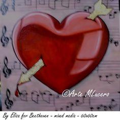 De Eliza para Beethoven 60x60cm-tecnica mixta corazón love you #artwork #14february #arte #heart  #love #valentinesdaygifts #decorart #drawing #painting
