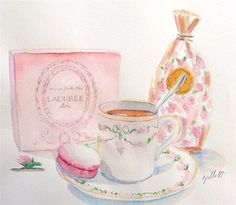 Laduree vignette watercolor by Carol Gillott of Paris Breakfast