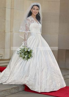 David's Bridal: Long Sleeved Satin and Lace Ball Gown Style WG3401