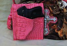 Small Auto Purse holster Left hand, Pink Gator,