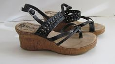 Wedge Sandals sz 6.5 Cork Heel Wedge Mudd Shoes  Woman Shoe:  Sz 6 1/2 M  Heel 3  Width 3 1/4  Leather uppers    JUN20