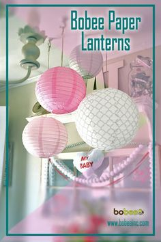 Pink and grey paper lanterns; cute girls birthday party decorations, baby shower, or baby nursery room decor. You could reuse them for both!